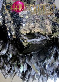 CHARISMATICO Slinky Metallic Sequined Black Raven Feather Keyhole Neckline Dance Leotard