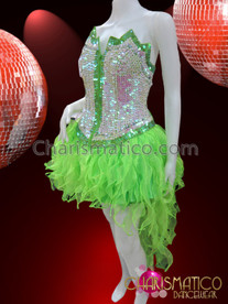CHARISMATICO Iridescent Green Trimmed White Corset And Green Organza Flame-Ruffled Skirt