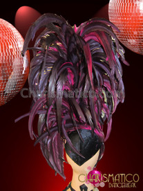CHARISMATICO Diva Showgirl's Iridescent Crystal Accented Towering Deep Fuchsia Feather Headdress