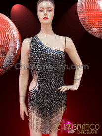 CHARISMATICO Sexy Asymmetrical Fringed Black and Silver Sequin Latin Dance Leotard
