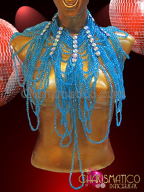 CHARISMATICO Sky Blue Beaded Diva'S Gothic Necklace With Iridescent Crystal Stays