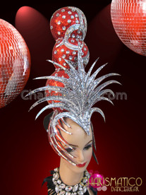 CHARISMATICO Silver And Crystal Embellished Red Glitter Ball Diva Showgirl Headdress