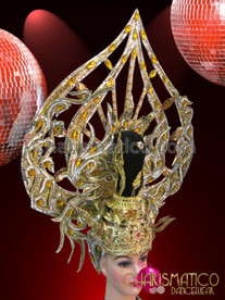 CHARISMATICO Ornate Gold Glitter Ruby and Amber Highlighted Diva Showgirl's Headdress