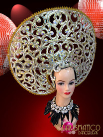 CHARISMATICO Openwork Crystal And Mirror Accented Golden Halo Diva Showgirl'S Headdress