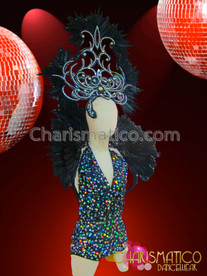 CHARISMATICO Diva'S Iridescent Silver Accented Black Sequin Feather Cabaret Costume Set