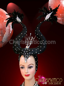 CHARISMATICO Understated Black Maleficent Inspired Iridescent Crystal Accented Steer Horn Headdress