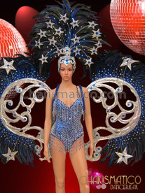 CHARISMATICO Sapphire Studded Silver Accented Royal Blue Star Themed Cabaret Costume