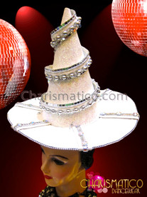 CHARISMATICO Silver Mirror Accented Ribbon Swirled White Witch Or Wizard Hat