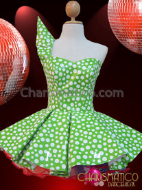 CHARISMATICO Vinyl Green And White Polka Dot Cone Shouldered Dollie Dress