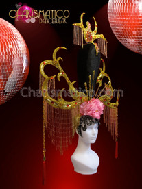CHARISMATICO Ornate Gold Antler Chinese Pink Peony Flower Beaded Fringe Headdress