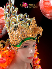 CHARISMATICO Gold Drag Queen Headdress With Tropical Yellow And Pink Flowers