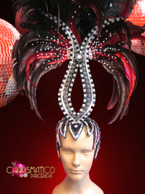 CHARISMATICO Glittery Black Crystal Accented Burlesque Showgirl'S Red Ostrich Feather Headdress