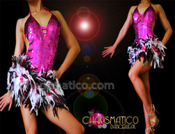 CHARISMATICO Fuchsia Sequin Dress With Black, White And Fuchsia Feather Skirt
