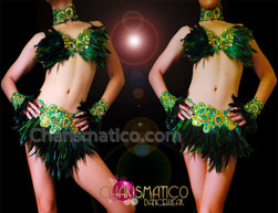 CHARISMATICO Gold Accented Appliquã© Embellished Green Feather Bra With Matching Skirt