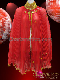 CHARISMATICO Gold Sequin Accented Diva'S Red Pleated Wing Cape Styled Cover-Up