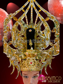 CHARISMATICO Ruby Amber Crystal Accented Gold Glitter Diva Showgirl Arrowhead Headdress
