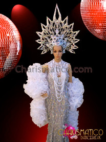 CHARISMATICO Silver Pageant Costume Set With White Gothic Necklace And Boa