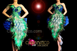 CHARISMATICO Royal Blue Based Green Peacock Feathered Appliquã© Corset Dollie Dress