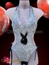 CHARISMATICO Sexy Metallic Silver Sequin Playboy Logo Fully Adjustable Halter-Style Leotard