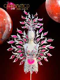 CHARISMATICO Hot Pink Accented Silver Glitter Cabaret Leaf Themed Costume Set