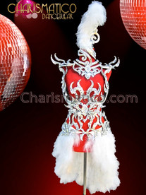 CHARISMATICO Silver Openwork Bra With White Feathers Burlesque Cabaret Costume Set