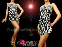 CHARISMATICO Iridescent Crystal Studded Silver And Black Sequin Showgirl Halter Dress