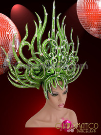 CHARISMATICO Silver Accented Drag Queen'S Flame Styled Green Glitter Diva Headdress