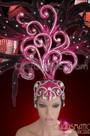 CHARISMATICO Exotic Diva Showgirl Feathered Crystal Enhanced Swirled Glitter Fuchsia Headdress
