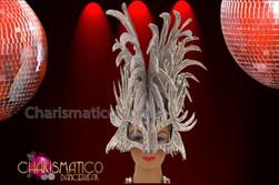 CHARISMATICO Half Mask Styled Silver Glitter Diva'S Fancy Spiked Mohawk Headdress