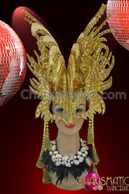 CHARISMATICO Half Mask Styled Shiny Golden Diva's Fancy Spiked Mohawk Headdress