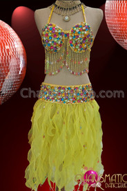 CHARISMATICO Sunny Yellow Two Piece Hawaii Dress With Multi-Color Crystal Accents