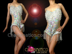 CHARISMATICO Metallic Iridescent Silver Sequin Showgirl'S Dance Leotard With Beaded Fringe