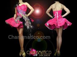 CHARISMATICO Diva'S Sexy Fuchsia Brocade Purple Peacock Appliquã© Accented Dolly Dress