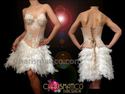 showgirl's halter style nude toned white pearl draped