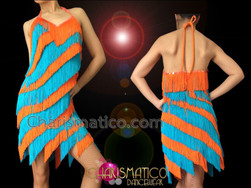 CHARISMATICO Diva'S Halter Style Orange And Blue Fringe Latin Dance Dress