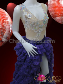 CHARISMATICO White Embroidered Sheer Leotard With Lace Ruffled Skirt Diva Costume