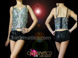 CHARISMATICO Black And Silver Sequin Top With Black Boy Short Panties