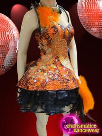 CHARISMATICO Diva'S Orange And Black Brocade Peacock Appliquã© Dolly Dance Dress