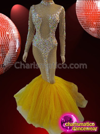 CHARISMATICO Sexy Nude-Illusion Crystal Embellished Mermaid Gown With Yellow Organza Skirt