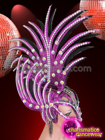 CHARISMATICO Mask Style Purple Glitter Spiked Mohawk Headdress With Crystal Accents