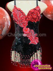 CHARISMATICO Ornately Embellished Black And Red Beaded Appliquã© Sequin Diva'S Leotard