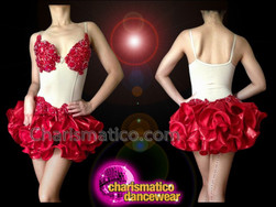 CHARISMATICO Two Piece Illusion Red Appliqué Accented Latin Salsa Dance Dress