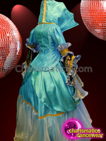 CHARISMATICO Diva's Elegant Gold Trimmed Sky Blue Middle Ages Victoria Costume