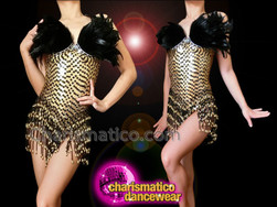 CHARISMATICO Metallic Gold Sequin Dance Leotard With Black Feathers And Trim