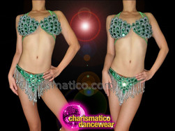 CHARISMATICO Silver Bead Trimmed Emerald Green Crystal Bra With Matching Thong