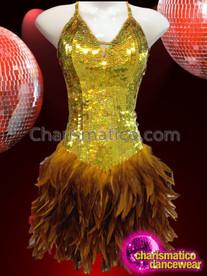CHARISMATICO Diva Showgirls Deep Golden Yellow Sequin Feathered Skirt Dance Dress