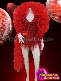 CHARISMATICO Red Sexy Beaded Fringe Leotard With Lush Organza Cabaret Boa