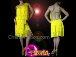 CHARISMATICO Asymmetrical Neon Yellow Fabric Fringe Diva'S Latin Salsa Dance Dress
