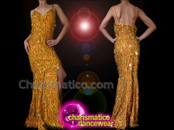 CHARISMATICO Slinky Sexy Golden Yellow Iridescent Gold Sequin Fringe Pageant Gown