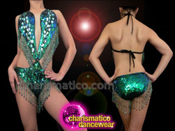 CHARISMATICO Emerald Embellished Sexy Peacock Iridescent Green Sequin Diva'S O-Ring Leotard